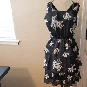 Black Floral WHBM Dress Size 10
